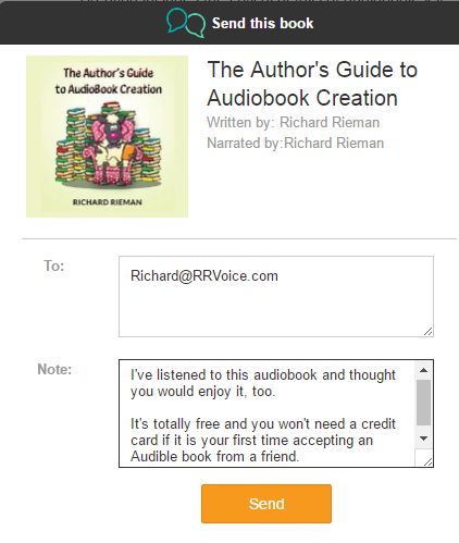 Picture of how Send this Book feature looks when you email a free copy